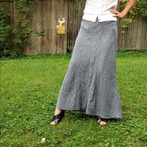 10 Gray 100% Linen Long Skirt